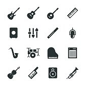 Musical Equipment Silhouette Icons Vector EPS File.