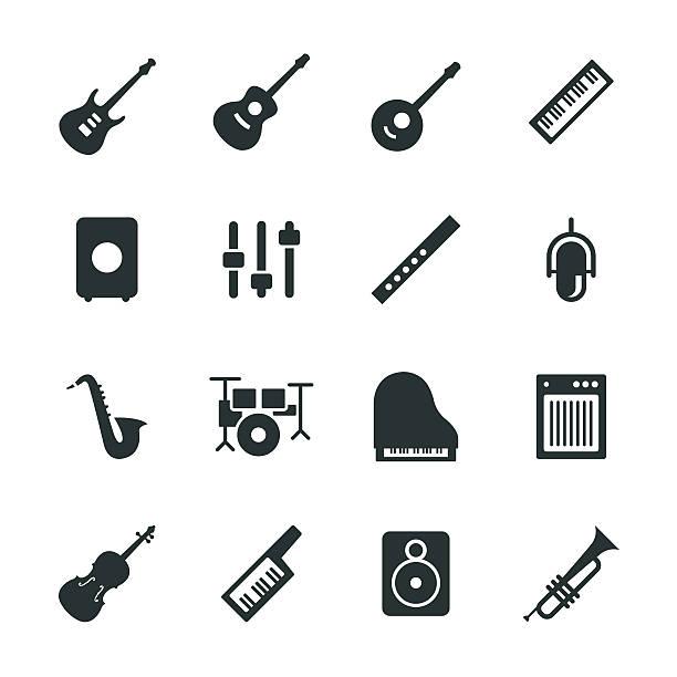 sprzęt muzyczny sylwetka ikony - instrument muzyczny stock illustrations