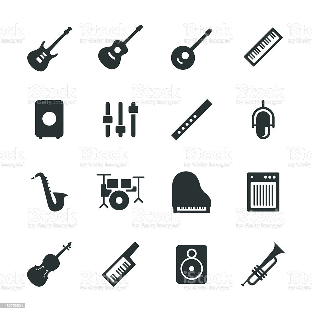Musical Equipment Silhouette Icons vector art illustration