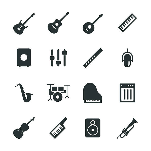musical equipment silhouette icons - music icons stock illustrations, clip art, cartoons, & icons
