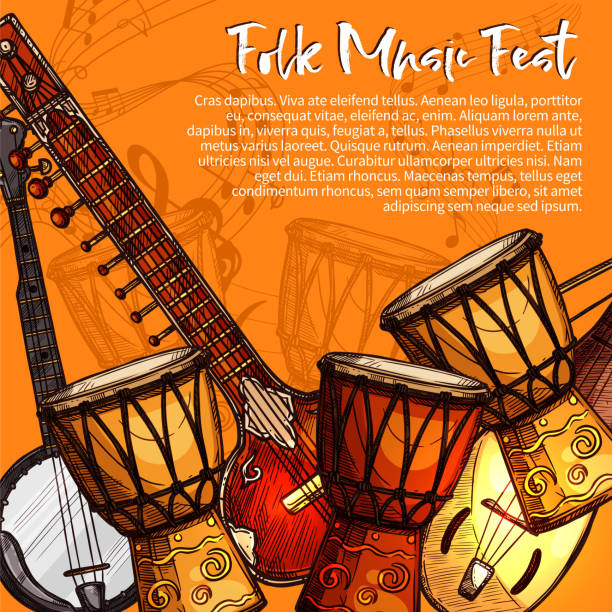 Musical festival of folk music sketch poster Musical festival of folk music poster. Ethnic music instrument sketches of sitar, tabla drums, lute and bandjo with note, treble clef and stave. Musical festival invitation flyer template design tavla stock illustrations