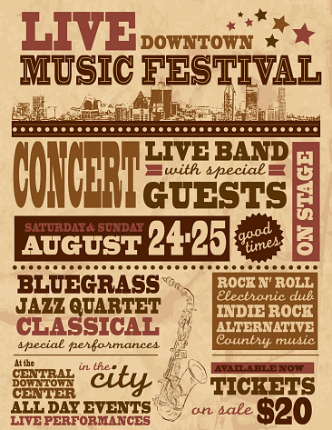 Musical festival poster design template