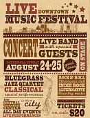Vector illustration of a music festival poster design template. Includes various text designs and design elements such as cityscape and saxophone. Download includes Illustrator 8 eps, high resolution jpg and png file.