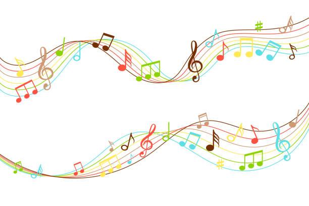 musikalischen fluss. lebendige musik soundwave farbmuster isoliert auf weißem, audio wave melodie wirbel vektor-illustration - musiksymbole stock-grafiken, -clipart, -cartoons und -symbole