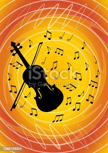 Musical flyer design with black violin silhouette and musical notes on vivid abstract orange bakcground. Musical festival invitation or concert programm template. Vector template