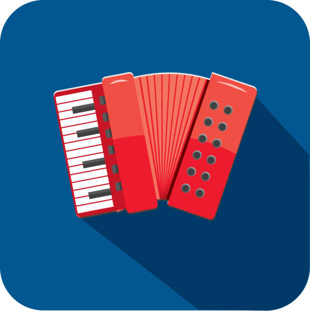 Musical Folding Accordion Instrument Flat Design themed Icon Set with shadow vector art illustration