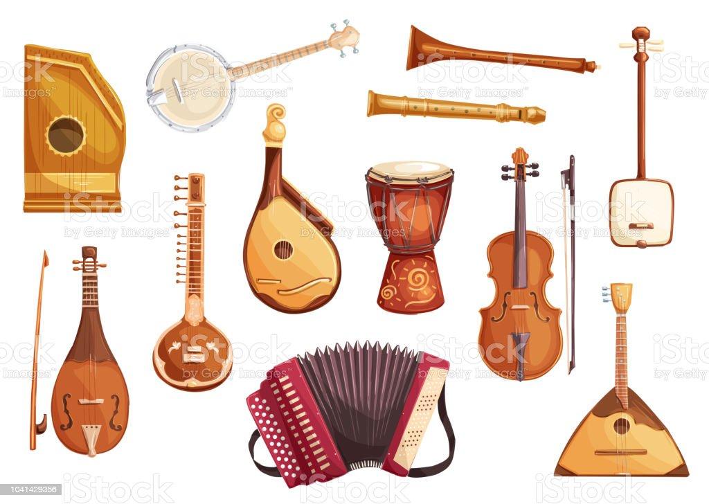 Musical folk instruments watercolor icons vector art illustration