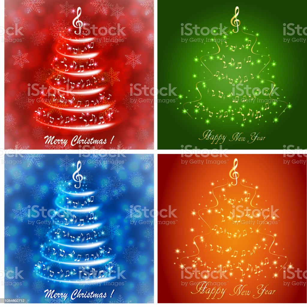 Musical Greeting Card With Abstract Christmas Trees Stock Vector Art