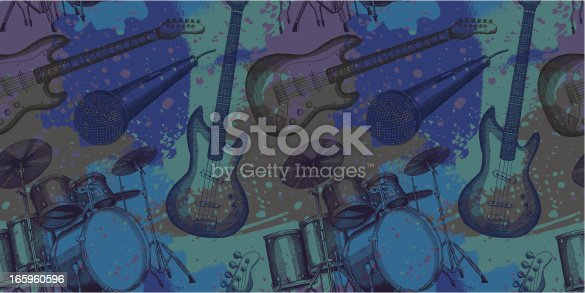Musical grunge design in a seamless pattern - vector illustrations