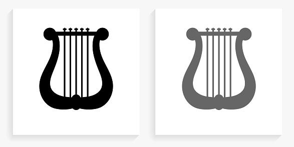 Musical Harp Black and White Square Icon