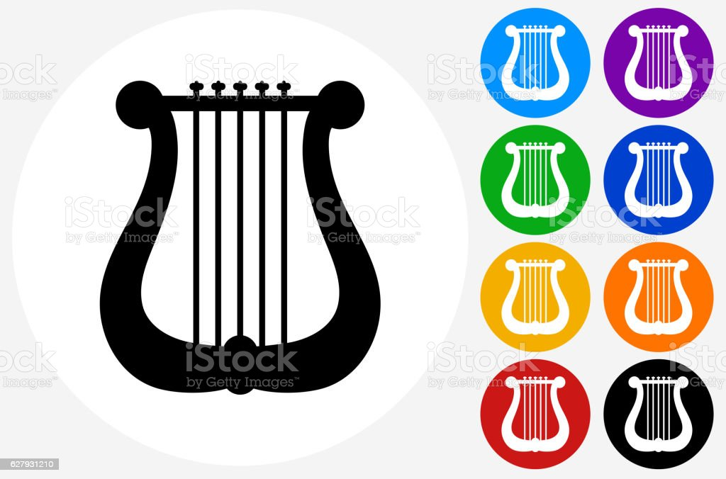Musical Harp Icon on Flat Color Circle Buttons vector art illustration