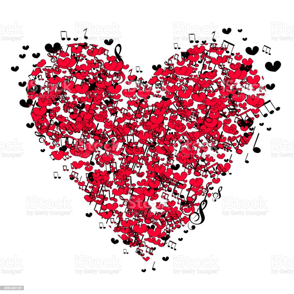 Musical Heart For Valentines Day Vector Illustration Tshirt Logo