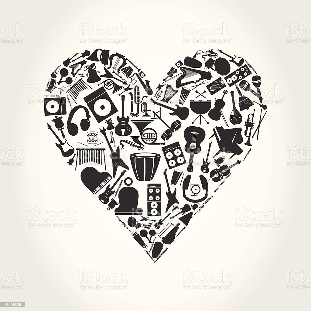 Musical heart royalty-free stock vector art