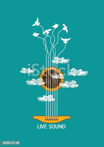 istock Musical illustration with concept guitar 453010149