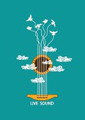 Musical illustration with concept guitar and birds in the sky. Included Ai