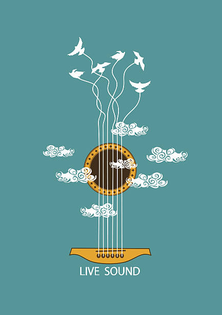 Musical illustration with concept guitar Musical illustration with concept guitar and birds in the sky. Included Ai bird backgrounds stock illustrations