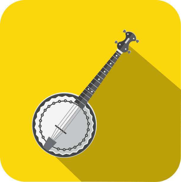 Musical Instrument banjo Flat Design themed Icon Set with shadow vector art illustration