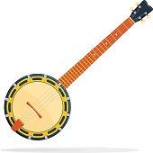 Musical instrument Banjo vector illustration isolated on white background