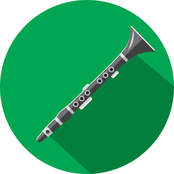 musical instrument clarinet flat design themed icon set with shadow - klarnet stock illustrations
