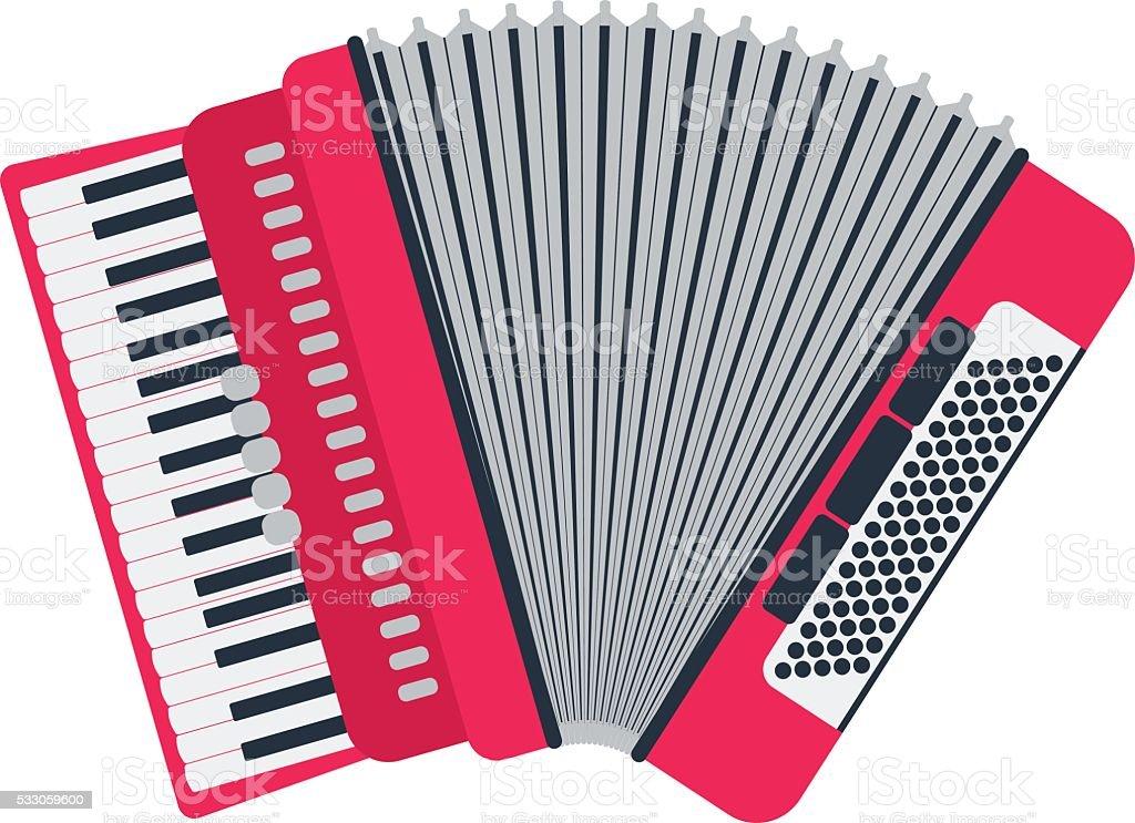 Musikalische Instrument klassische Akkordeon, isoliert auf Weißer Hintergrund. – Vektorgrafik
