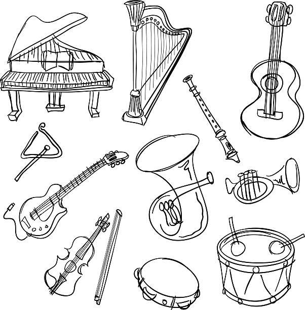 bildbanksillustrationer, clip art samt tecknat material och ikoner med musical instrument  collection in black and white - flöjt