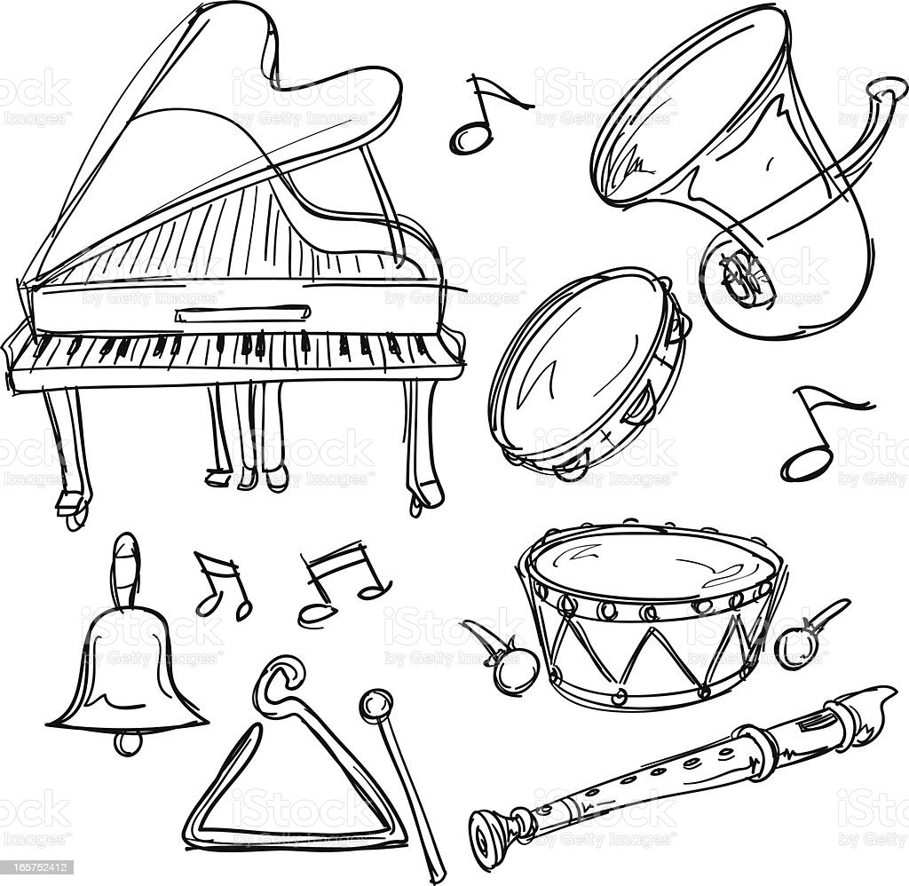 Musical Instrument Collection In Sketch Style Stock Vector