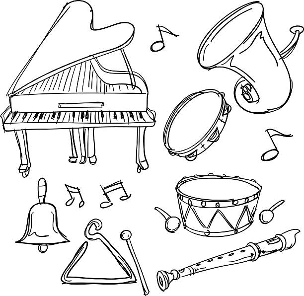 stockillustraties, clipart, cartoons en iconen met musical instrument collection in sketch style - slaginstrument