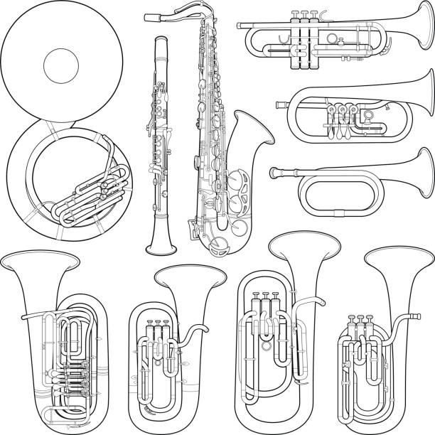musical instrument collection - vector line illustration - klarnet stock illustrations