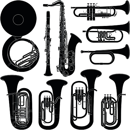 Musical instrument collection - vector silhouette illustration