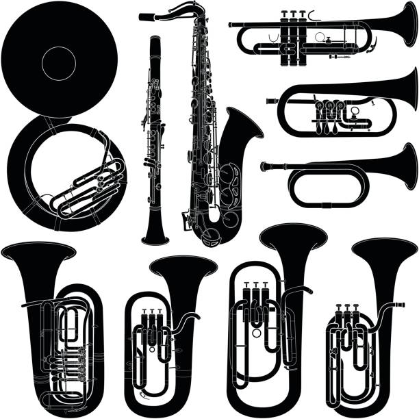musical instrument collection - vector silhouette illustration - klarnet stock illustrations