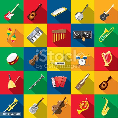 Vector illustration of a Musical instrument Design themed Icon Set with shadow. Vector eps 10, fully editable.