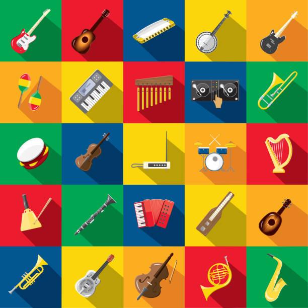 stockillustraties, clipart, cartoons en iconen met muzikale instrument plat ontwerp ingesteld thema icon set met schaduw - tamboerijn