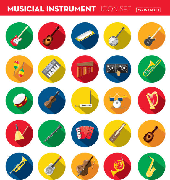 musical instrument flat design set themed icon set with shadow - akordeon instrument stock illustrations