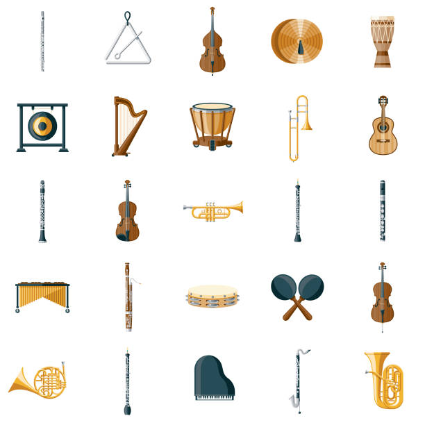 musical instrument icon set - instrument perkusyjny stock illustrations