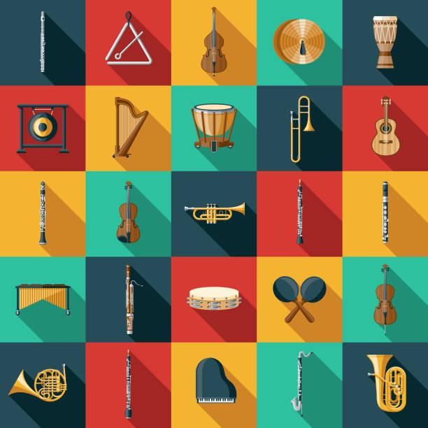 zestaw ikon instrumentu muzycznego - instrument muzyczny stock illustrations