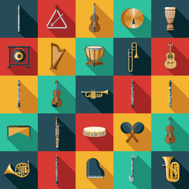 stockillustraties, clipart, cartoons en iconen met muziekinstrument icon set - blaasinstrument