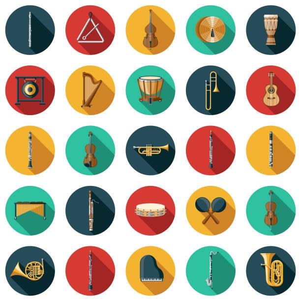 stockillustraties, clipart, cartoons en iconen met muziekinstrument icon set - basklarinet