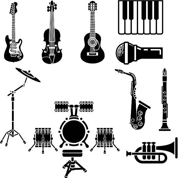 zestaw ikon instrumentów muzycznych - klarnet stock illustrations