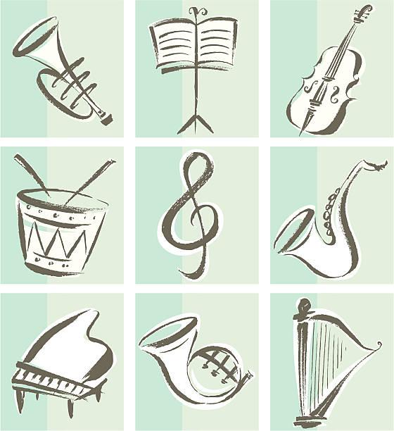 ikony z instrumentów muzycznych - waltornista stock illustrations