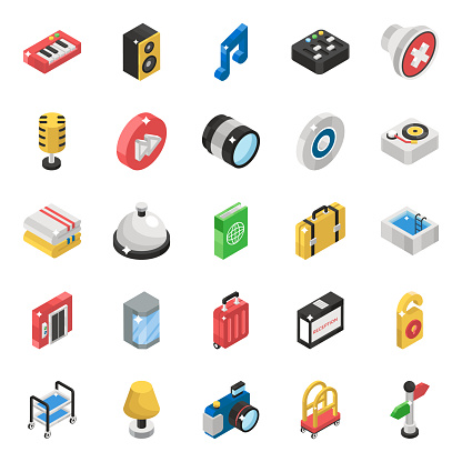 Musical instrument Isometric Icons Pack
