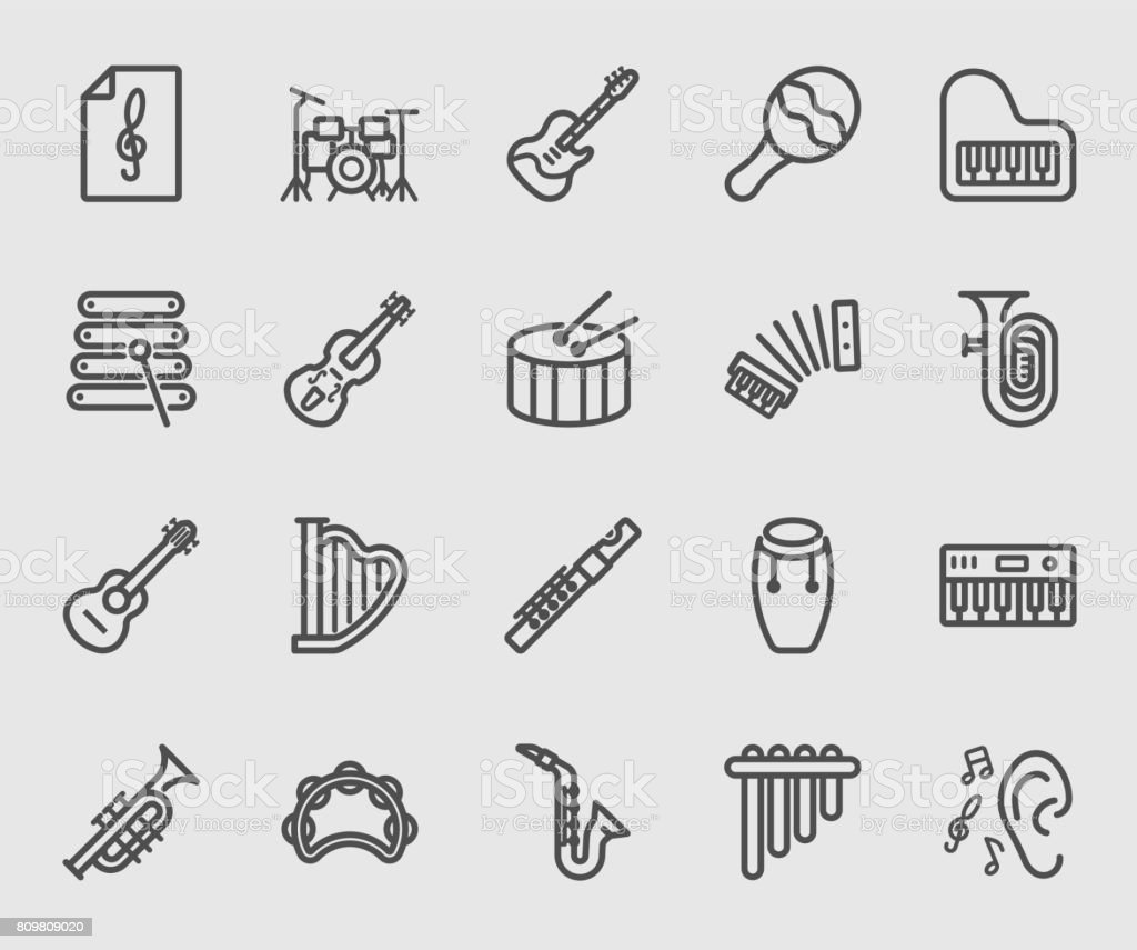 Musical Instrument line icon vector art illustration
