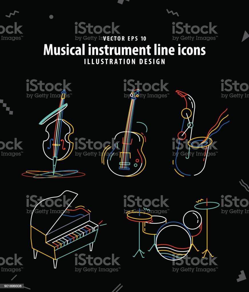Musical instrument line icons illustration vector. Music concept. vector art illustration
