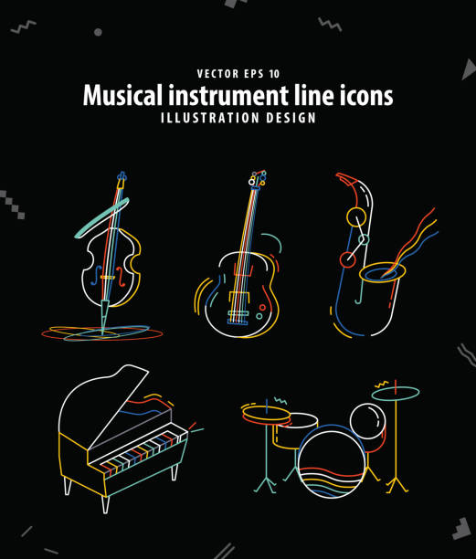 musical instrument line icons illustration vector. music concept. - jazz stock illustrations