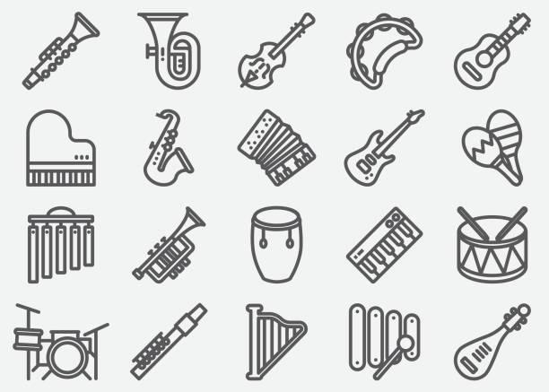 ikony linii instrumentów muzycznych - instrument muzyczny stock illustrations