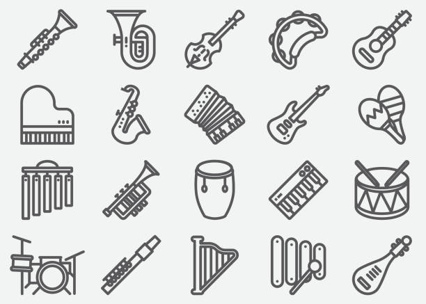 stockillustraties, clipart, cartoons en iconen met muziekinstrument lijn pictogrammen - trompet