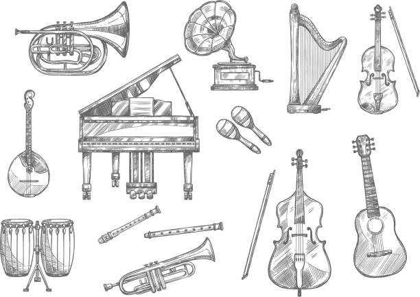 musical instrument sketch of classic, jazz music - instrument strunowy stock illustrations