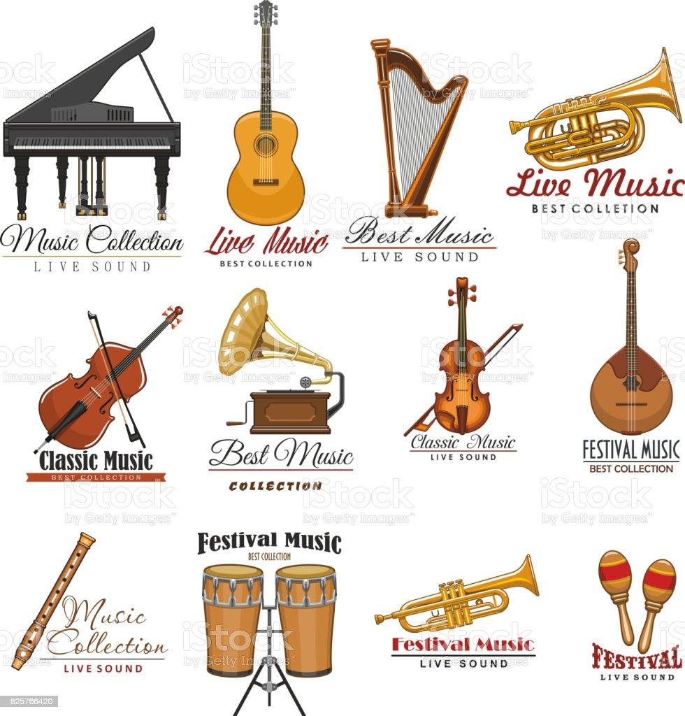 Musical Instrument Symbol Set For Music Design Stock Vector Art