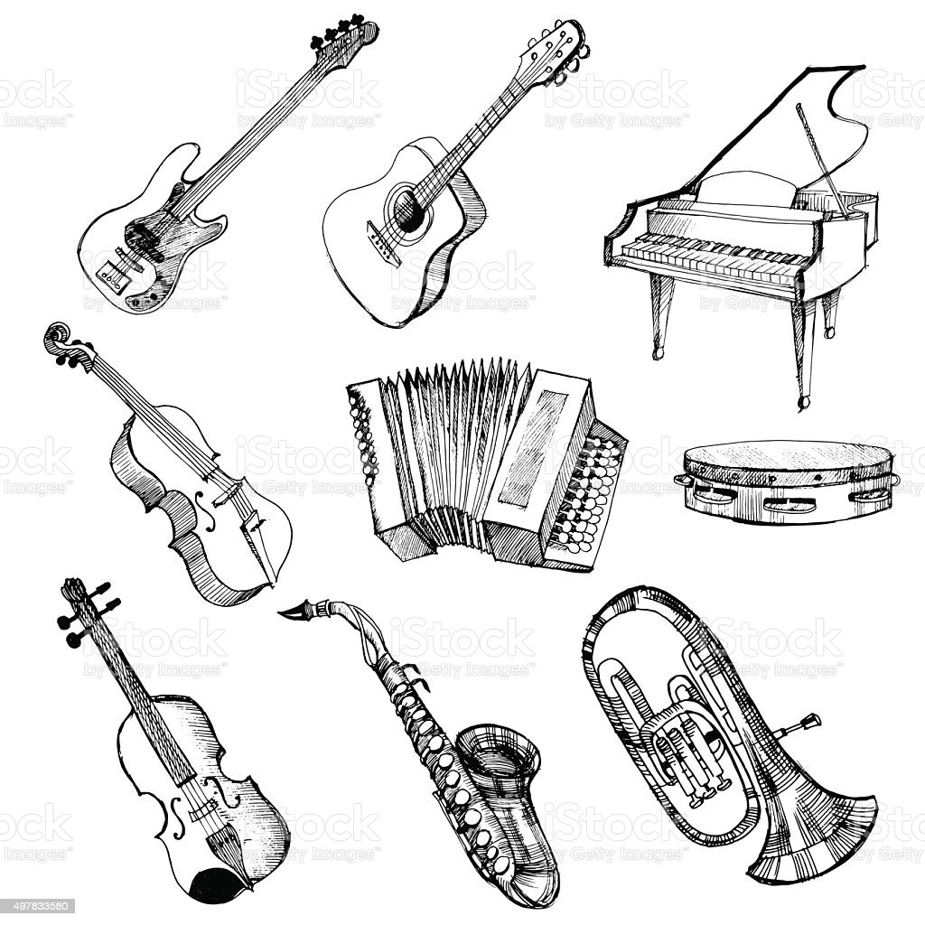 musical instrument vector art illustration