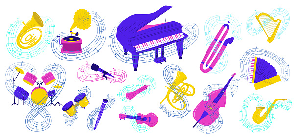 Musical instrument vector illustration set, cartoon flat colorful collection acoustic icons for musician with notes isolated on white