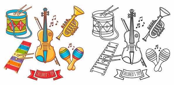 Musical instrument - Violin, drum, accordion, percussion, electric piano,  rhythmix, horn, saxophone, maracas. Cute cartoon musical instruments.Musical toy. Design elements set. Coloring book. Outline